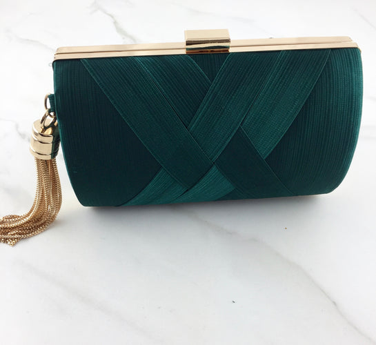 ROKA Emerald Tassel Clutch Bag