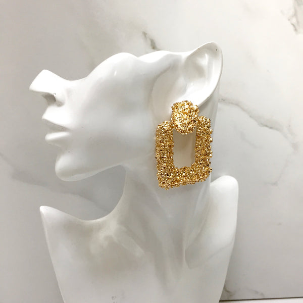 CANNES Gold Textured Statement Earrings