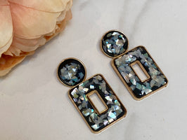 KYLIE Black & Gold Sparkle Statement Earrings