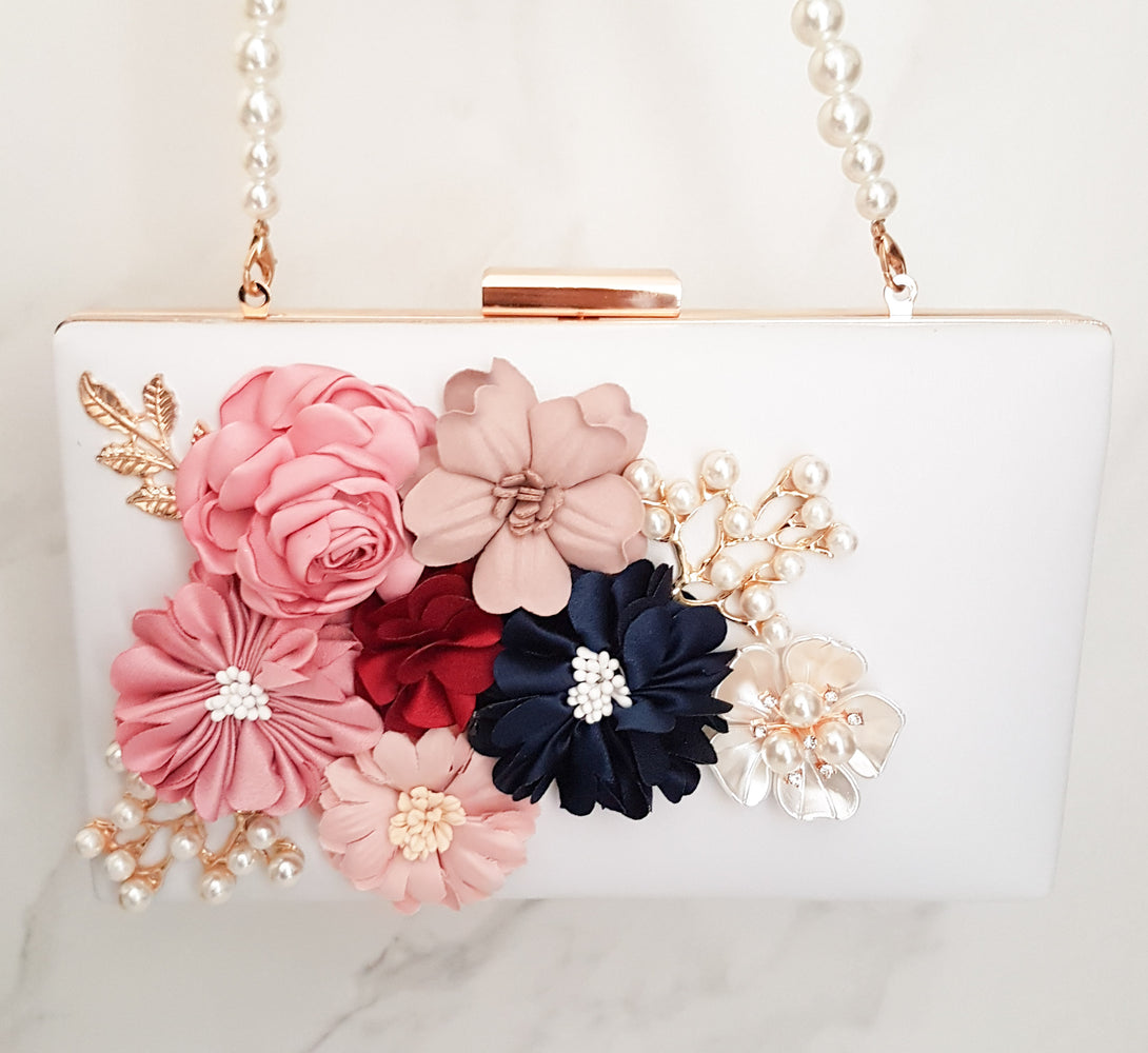 Womens white bag with flower design