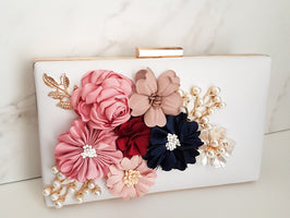 LOLA Pink / White Flower & Pearl Clutch Bag
