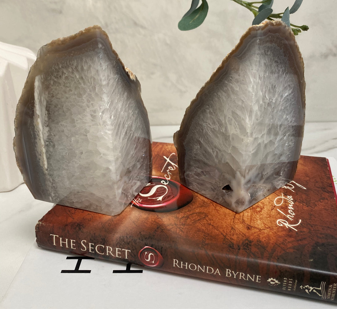 Agate Crystal Bookends - White & Grey