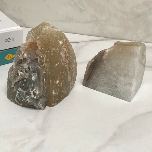 Natural White Agate Unique Crystal Bookends