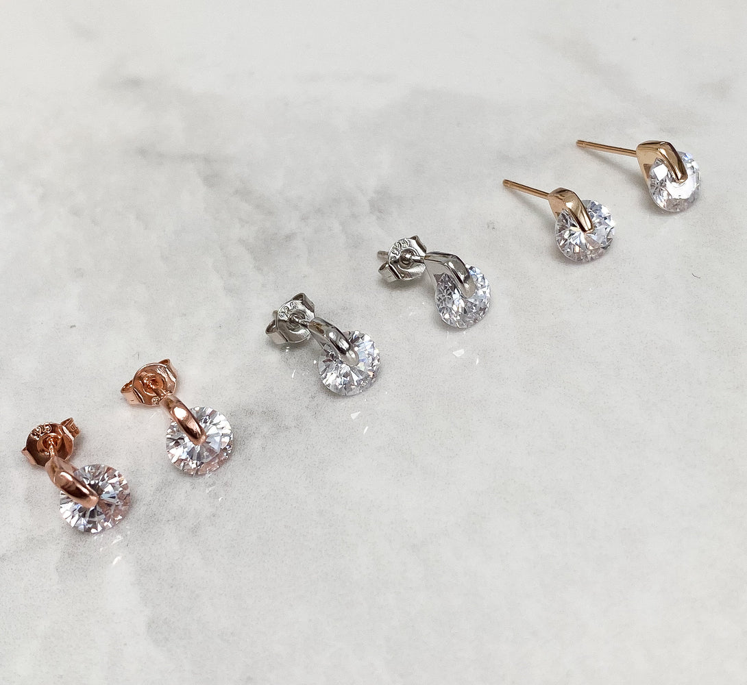PARIS Rhinestone Stud Earrings (Rose Gold / Silver / Gold)