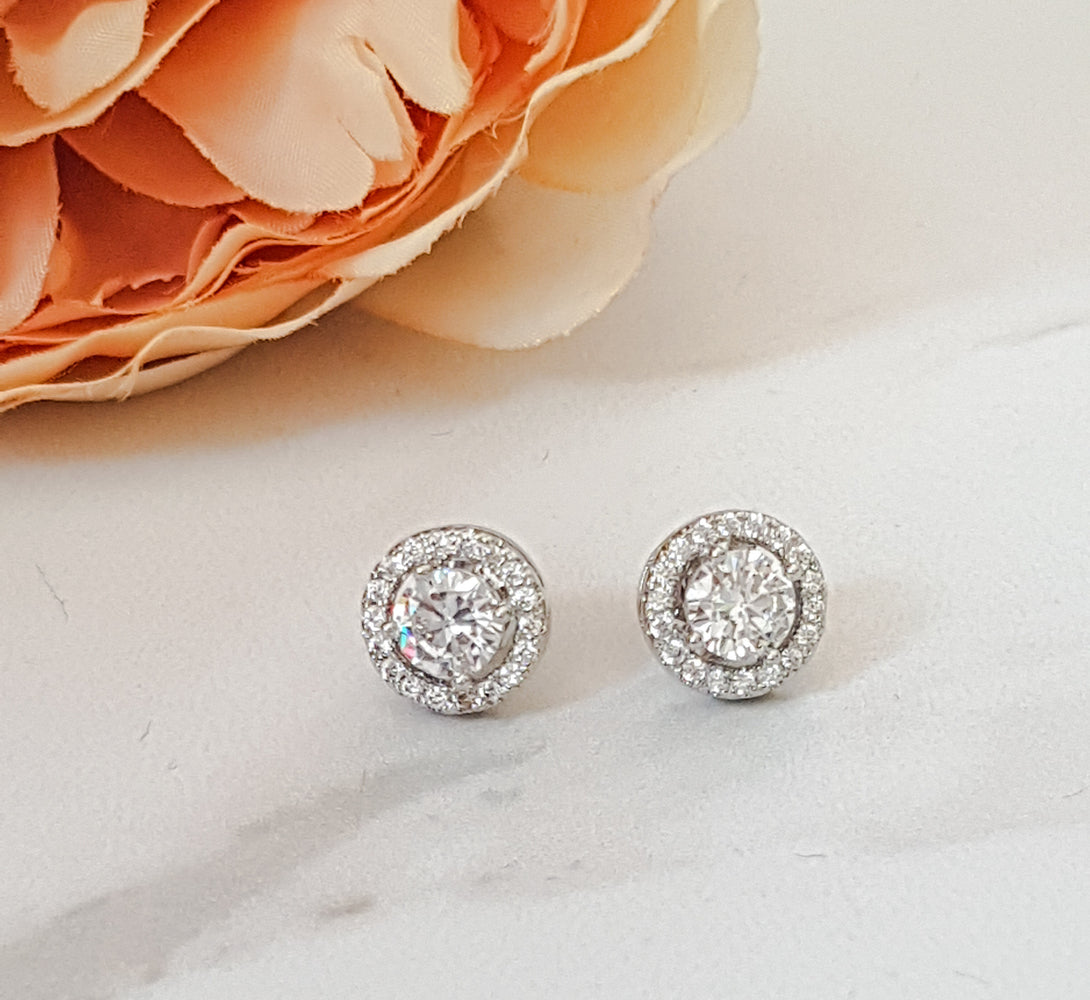 silver cubic ziconia stud earrings