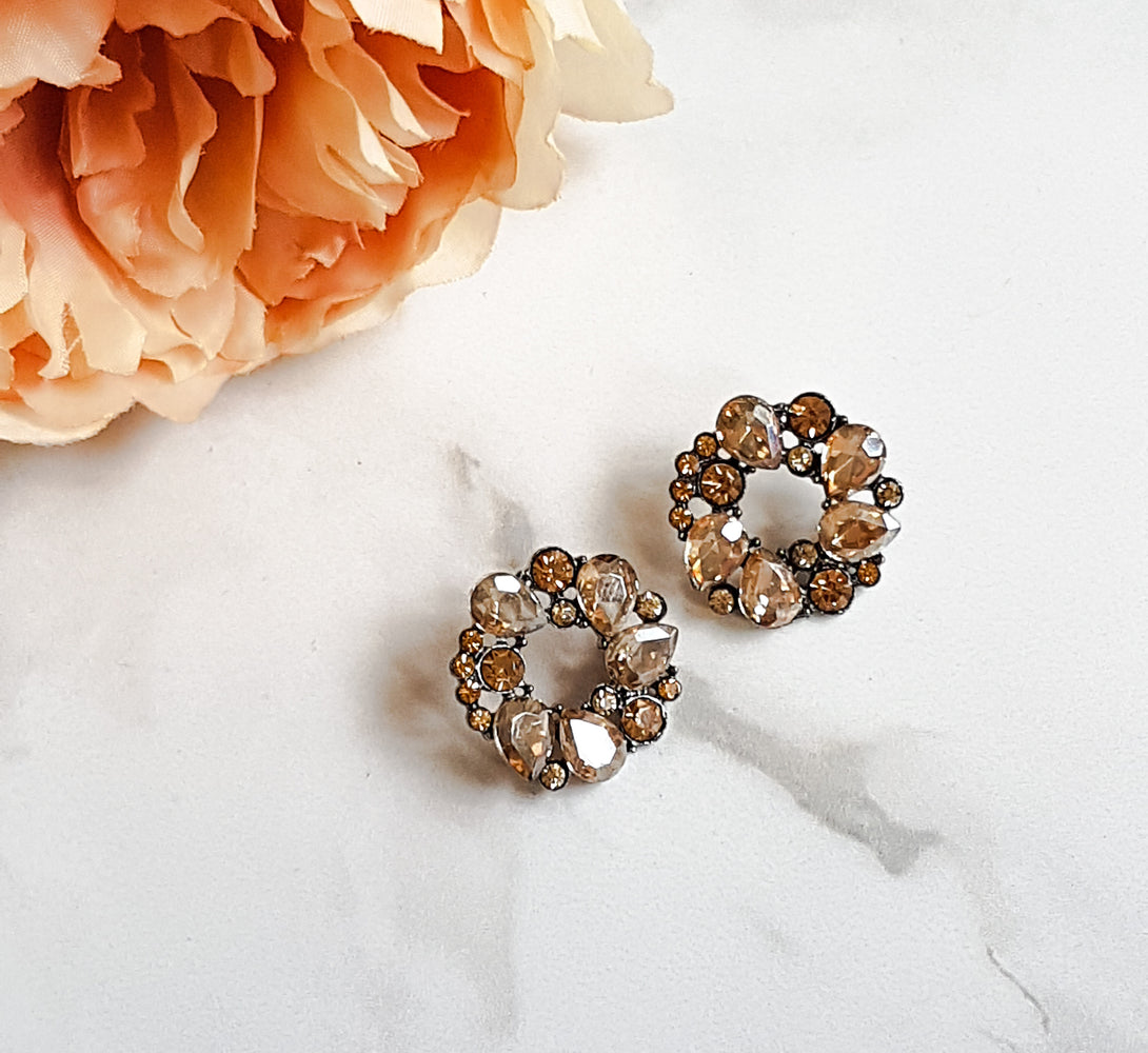 bronze circle stud earrings