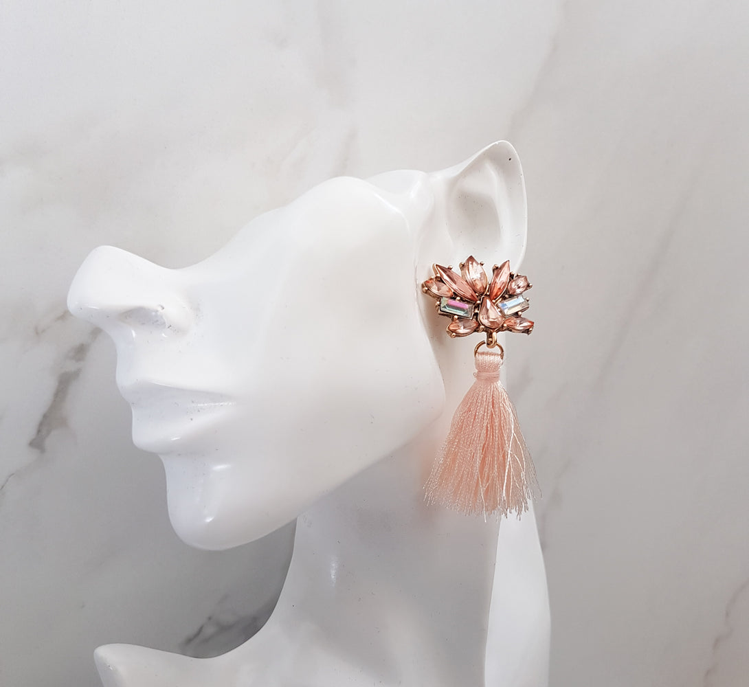 rhinestone earrings with peach fringe