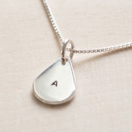 Personalised Teardrop Necklace - Initial