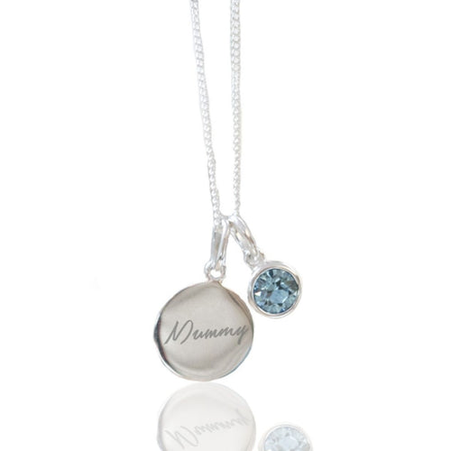 Silver Personalised Birthstone Necklace