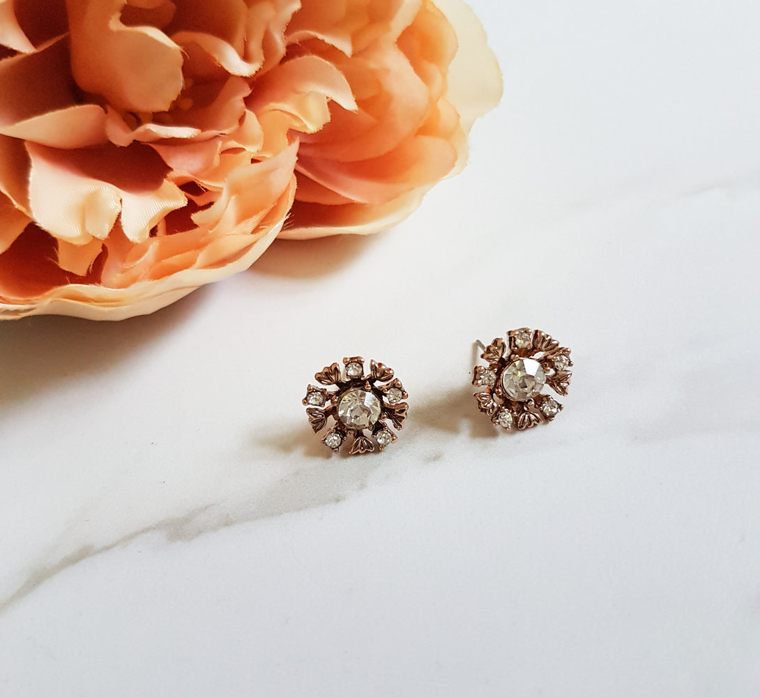 gold rhinestone stud earrings