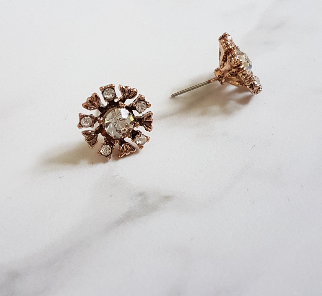ladies gold stud earrings with rhinestone details