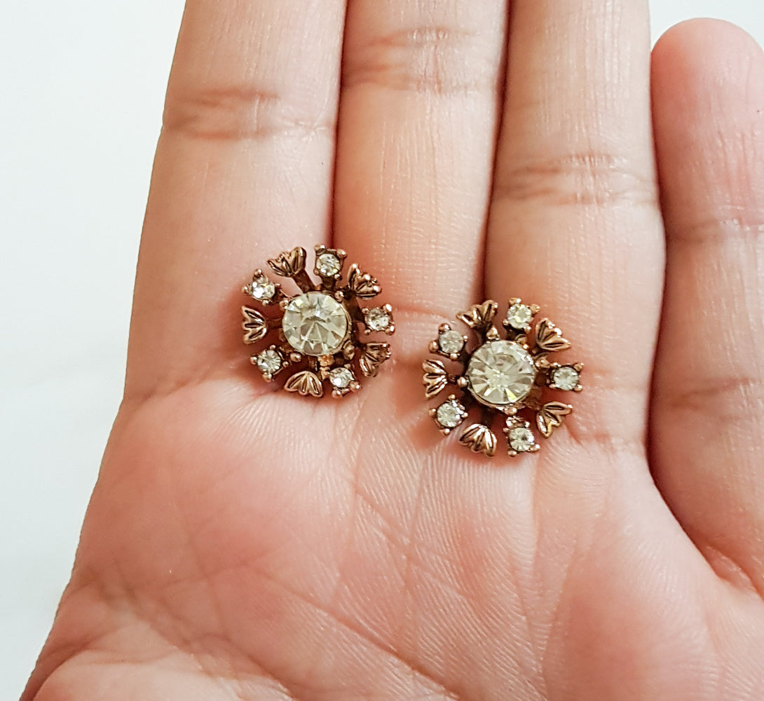 gold earrings with rhinestone centre, perfect gift for her