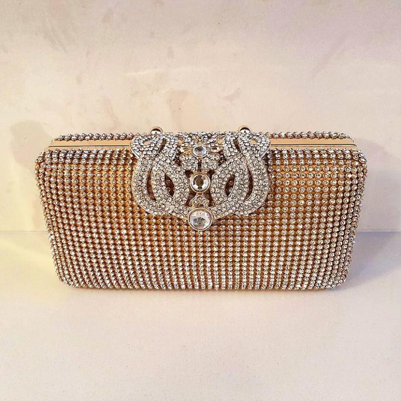 gold diamante clutch bag