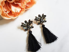 VIXEN Black Tassel Earrings
