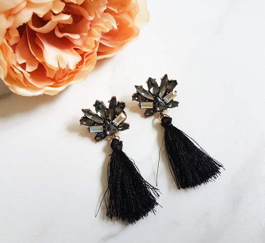 ladies black tassel earrings