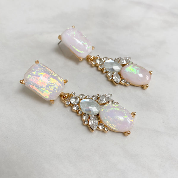 Iridescent White & Gold Jewel Earrings