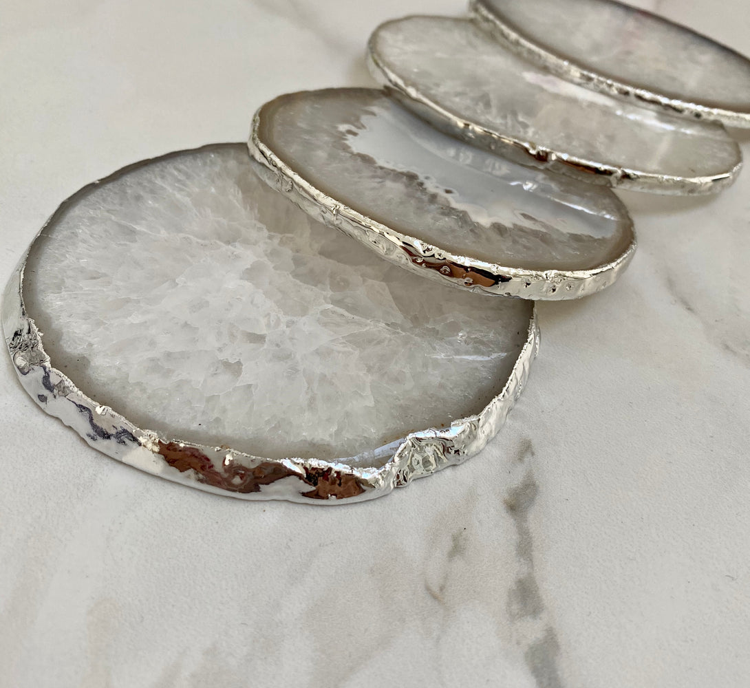 Natural White Agate Crystal Coasters with Silver Plated Edge