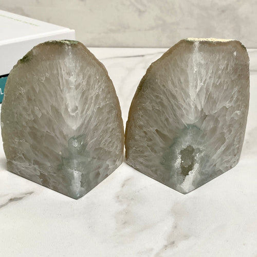 White Exposed Agate Crystal Bookends