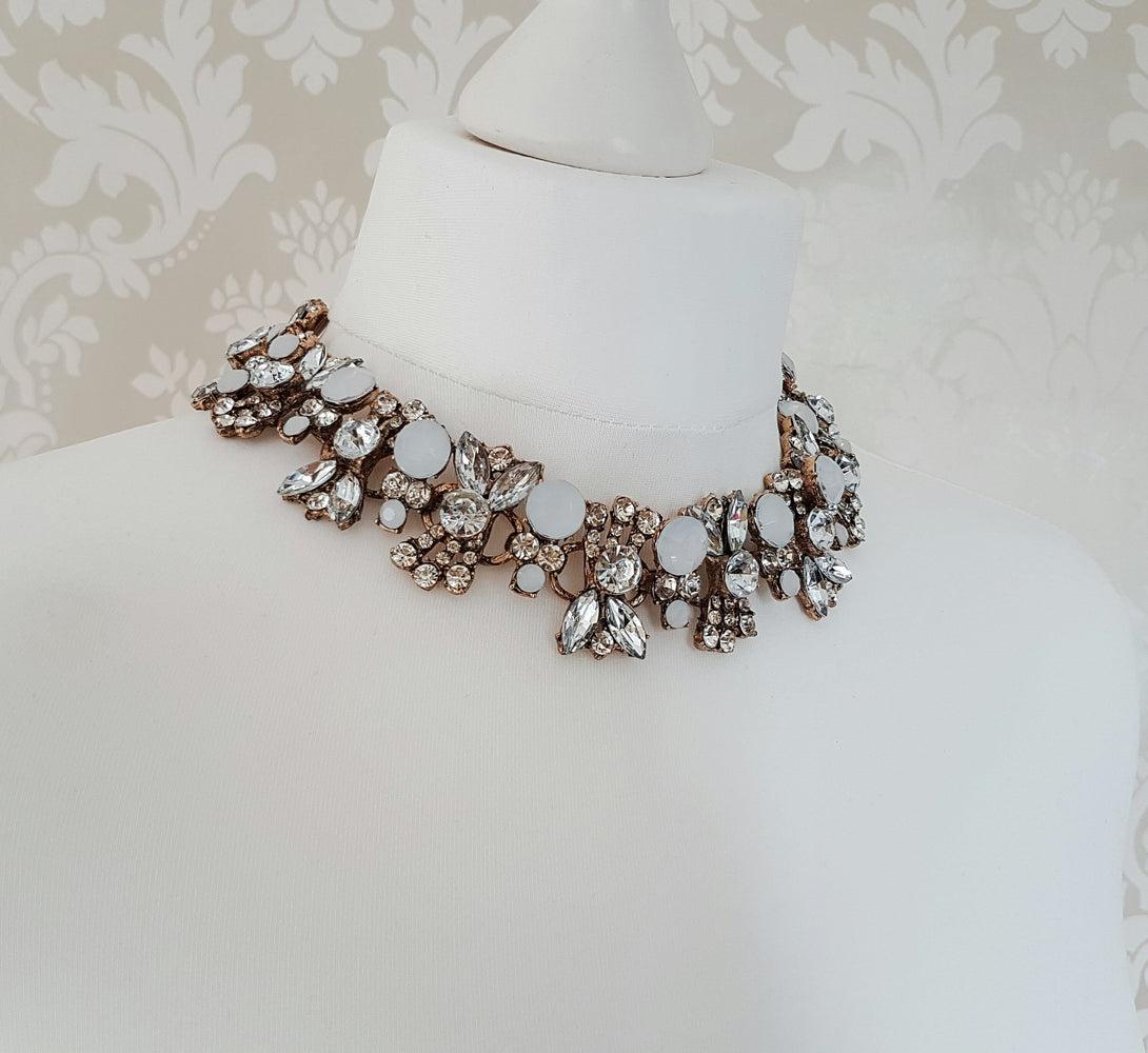 ANYA White & Gold Statement Necklace