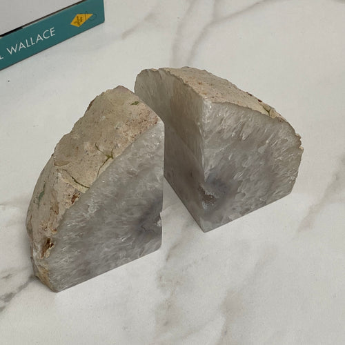Agate Crystal Bookends - Natural White