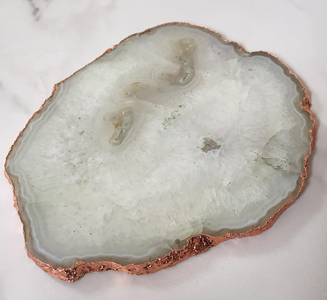 Natural Agate Crystal Table Centre / Candle plate with Gold / Copper Glided Edge