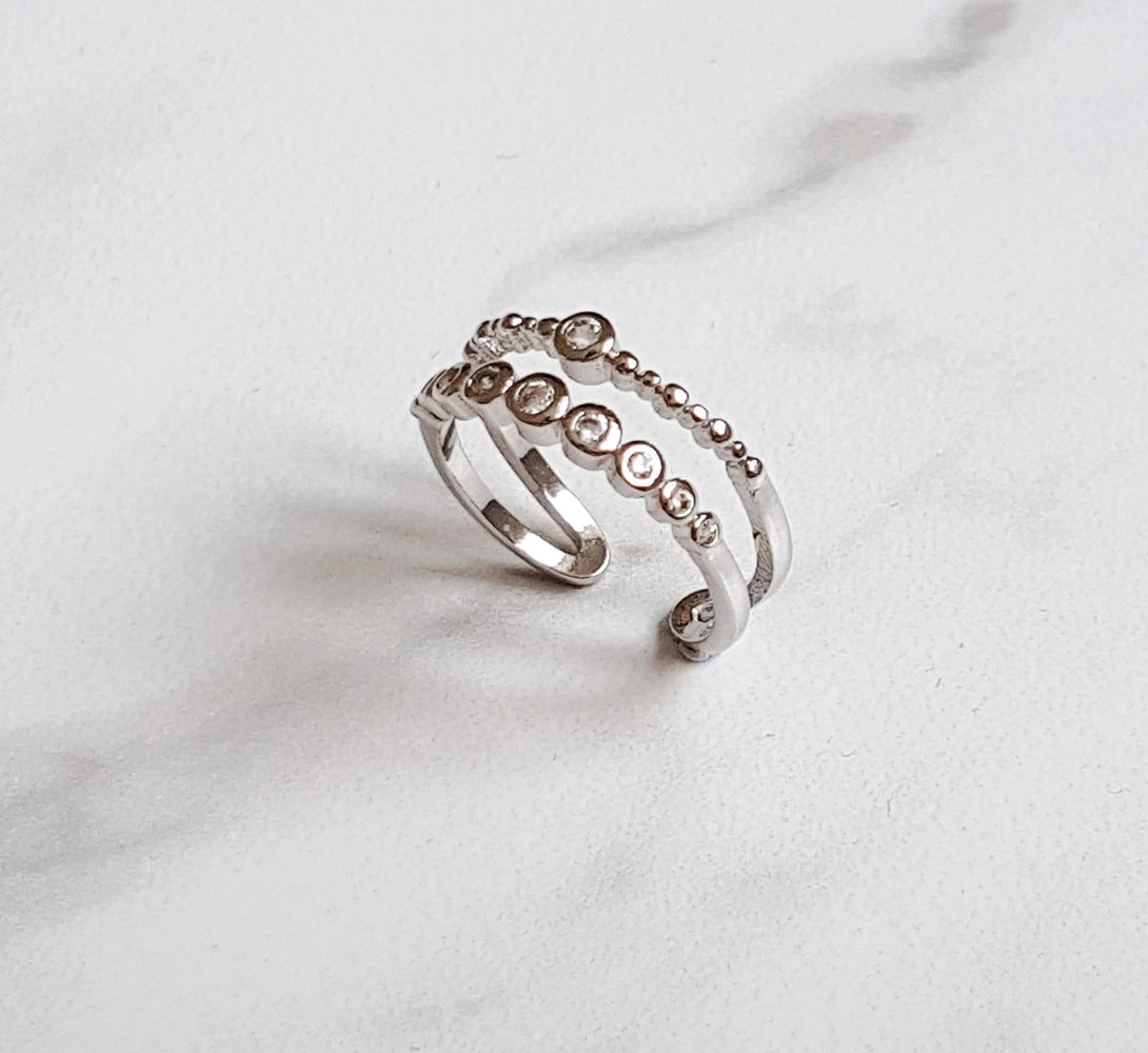 ALESHA Stacked Adjustable Ring (Rose Gold & Silver)