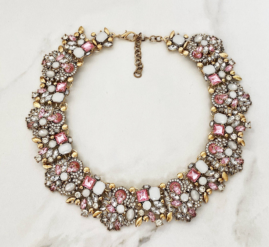 Pink and Gold Statement Necklace for Her
