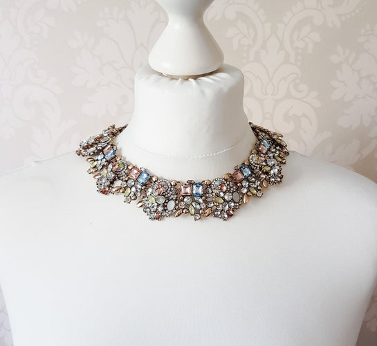 mint green stone bib necklace