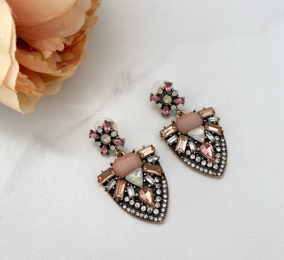 Womens Pink and gold big earrings