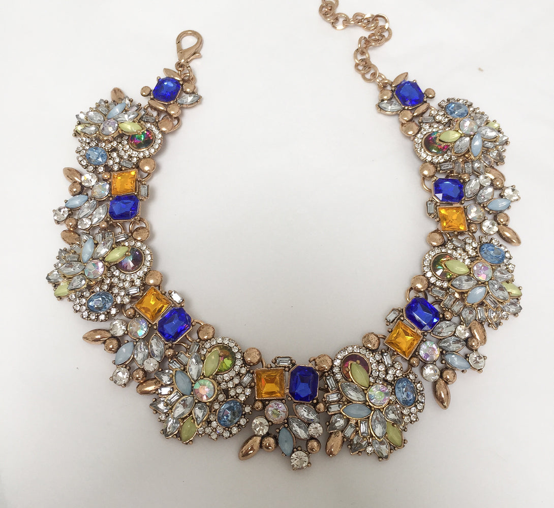 ladies blue statement necklace, perfect for a ball or evening dress