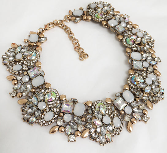 white and gold statement choker necklace
