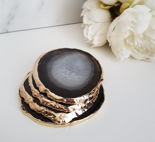 Black Agate Crystal Coasters with Gold Glided Edge