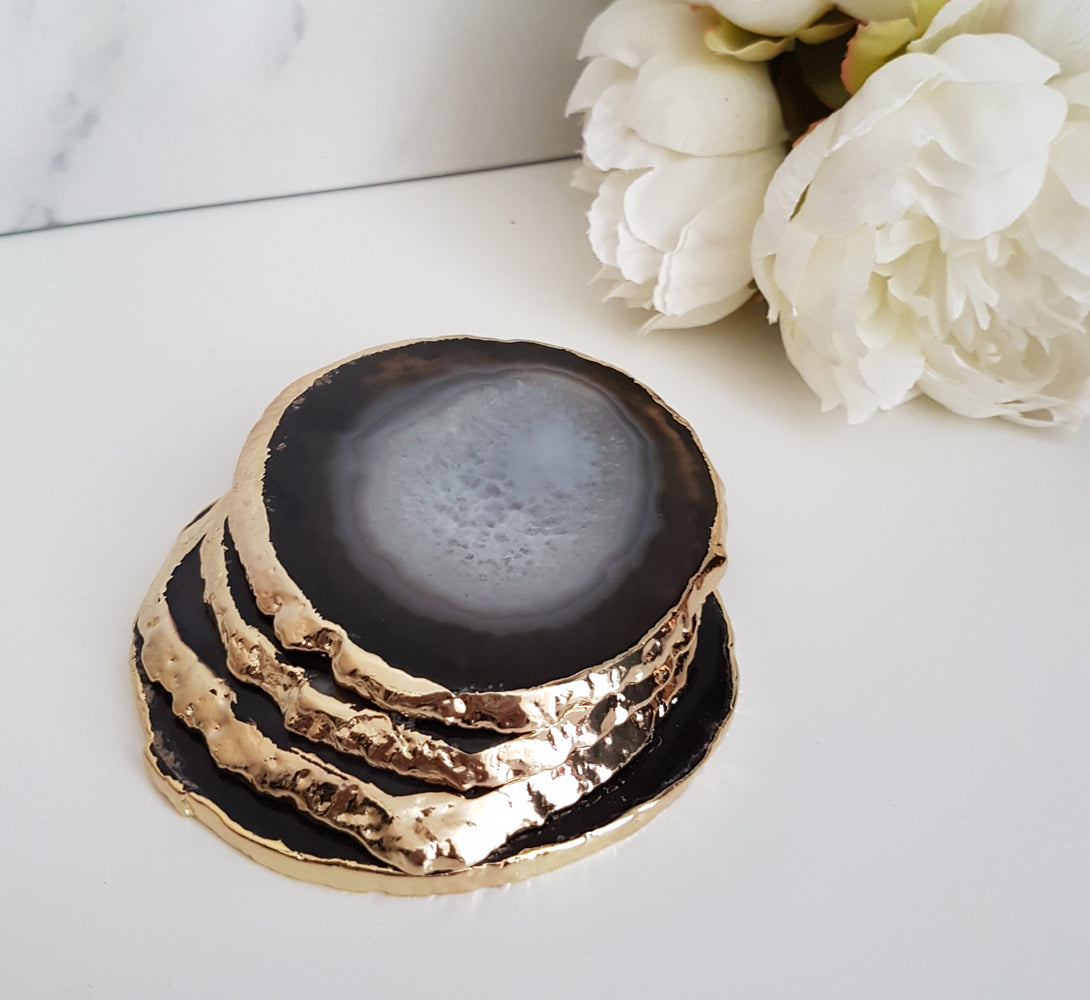 black agate crystal coasters with gold plated edge, perfect housewarming gift idea