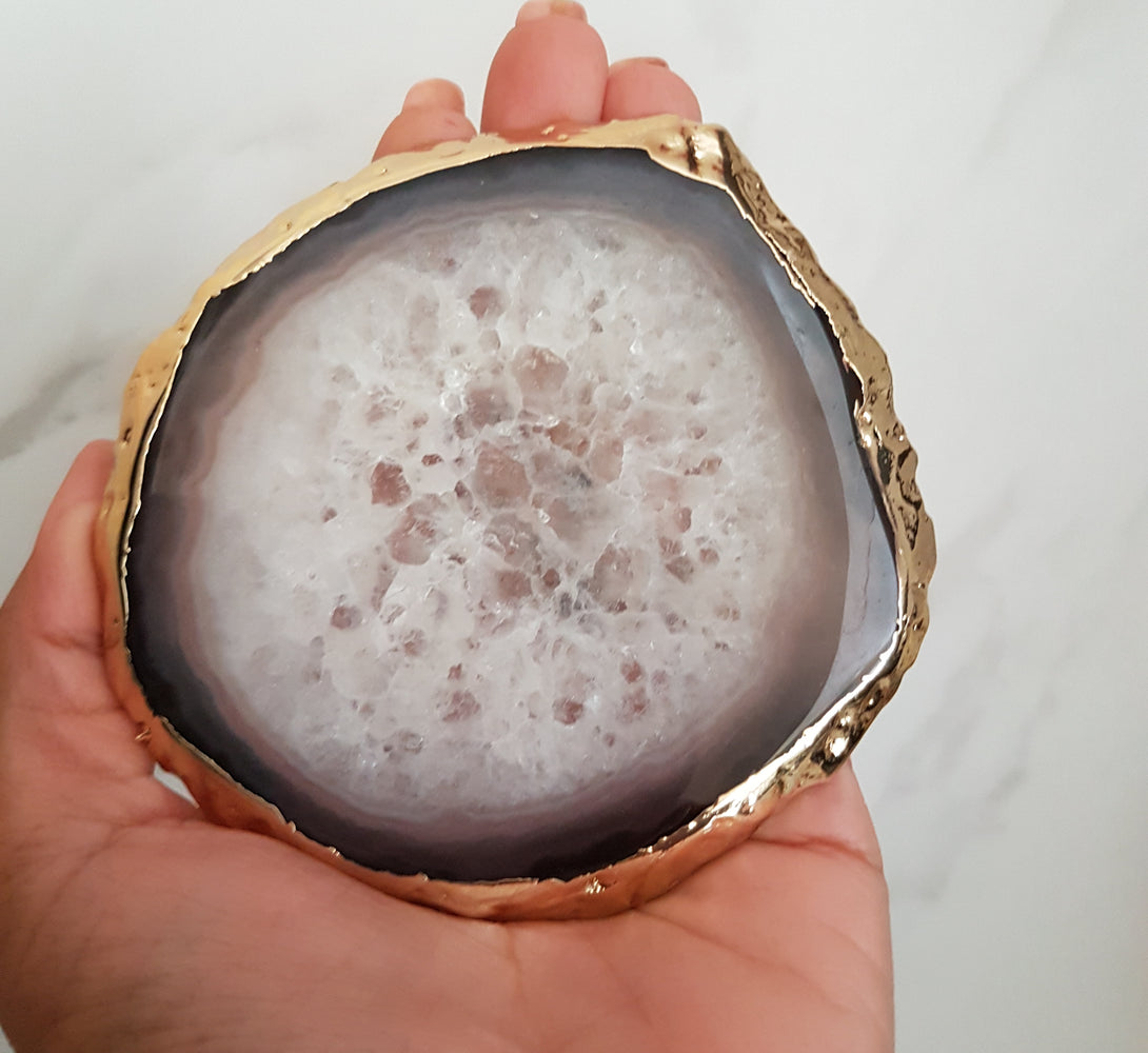 agate and quartz crystal coasters