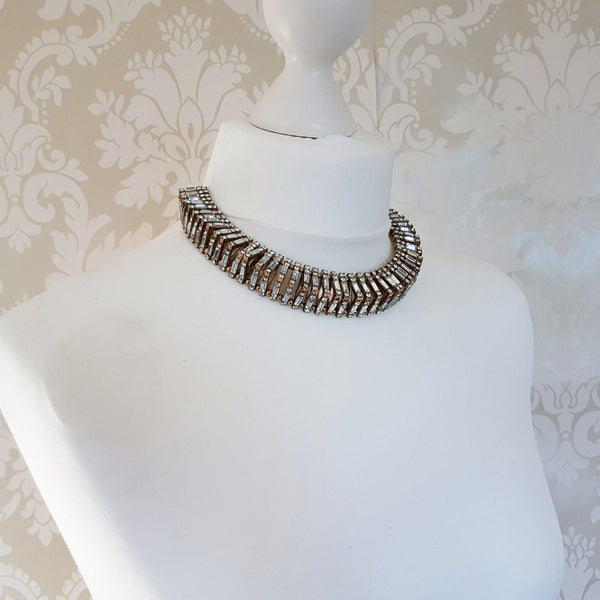 MIA Gold Rhinestone Statement Necklace