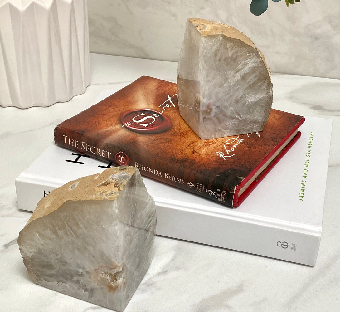 Agate Crystal Bookends - White & Beige