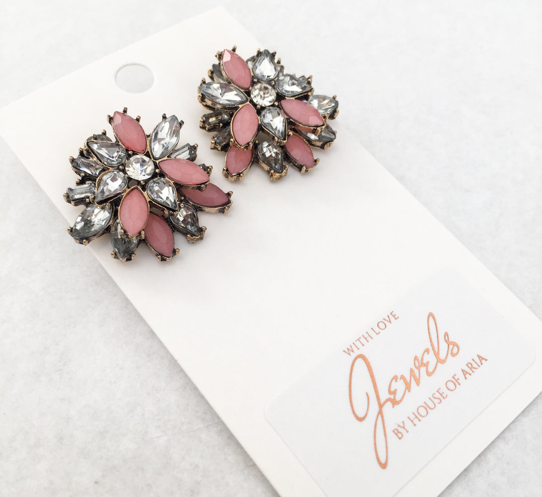 girls pink earrings, perfect for bridesmaids gifts and weddings or gift for her