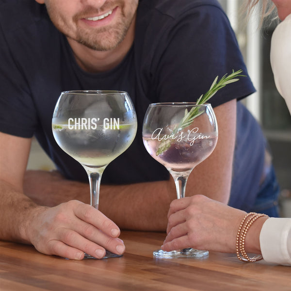 His & Hers Engraved Gin Glasses