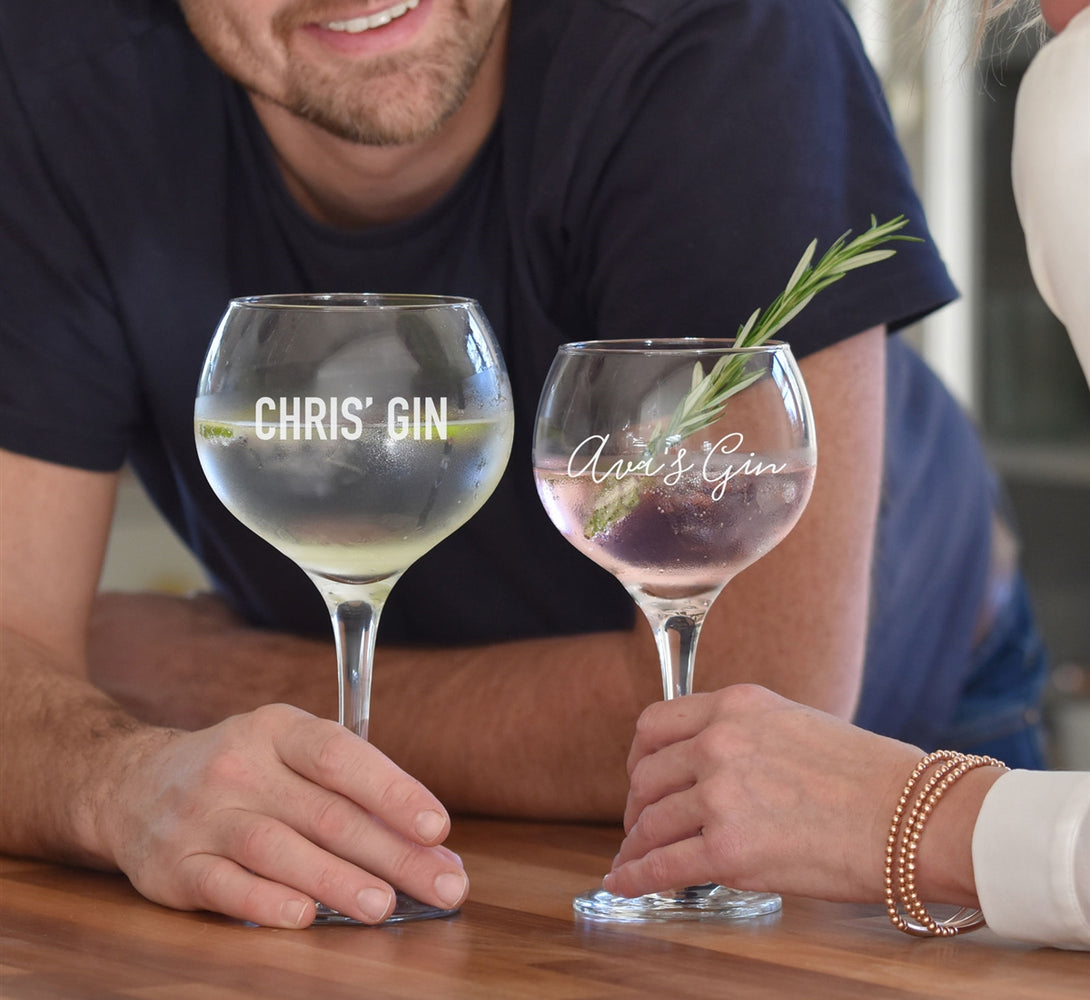 Hir and hers personalised Gin Glasses