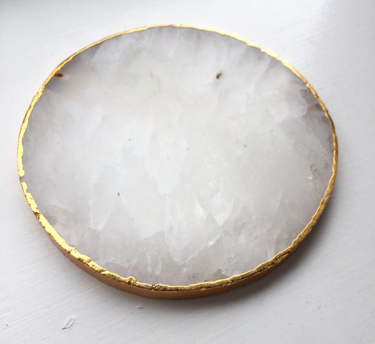 Round Agate Crystal Coasters with Gold Plated Edge