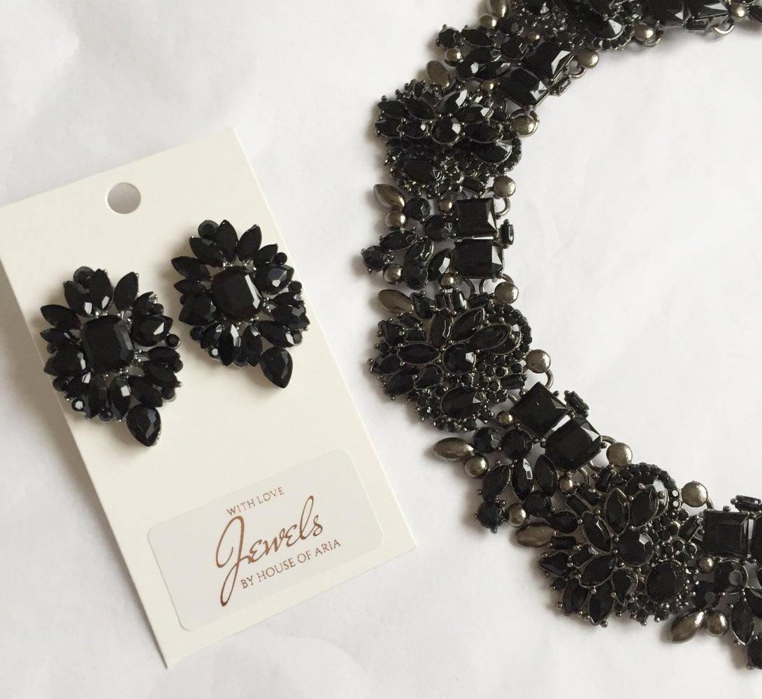 black and grey necklace set, fancy jewellery for her