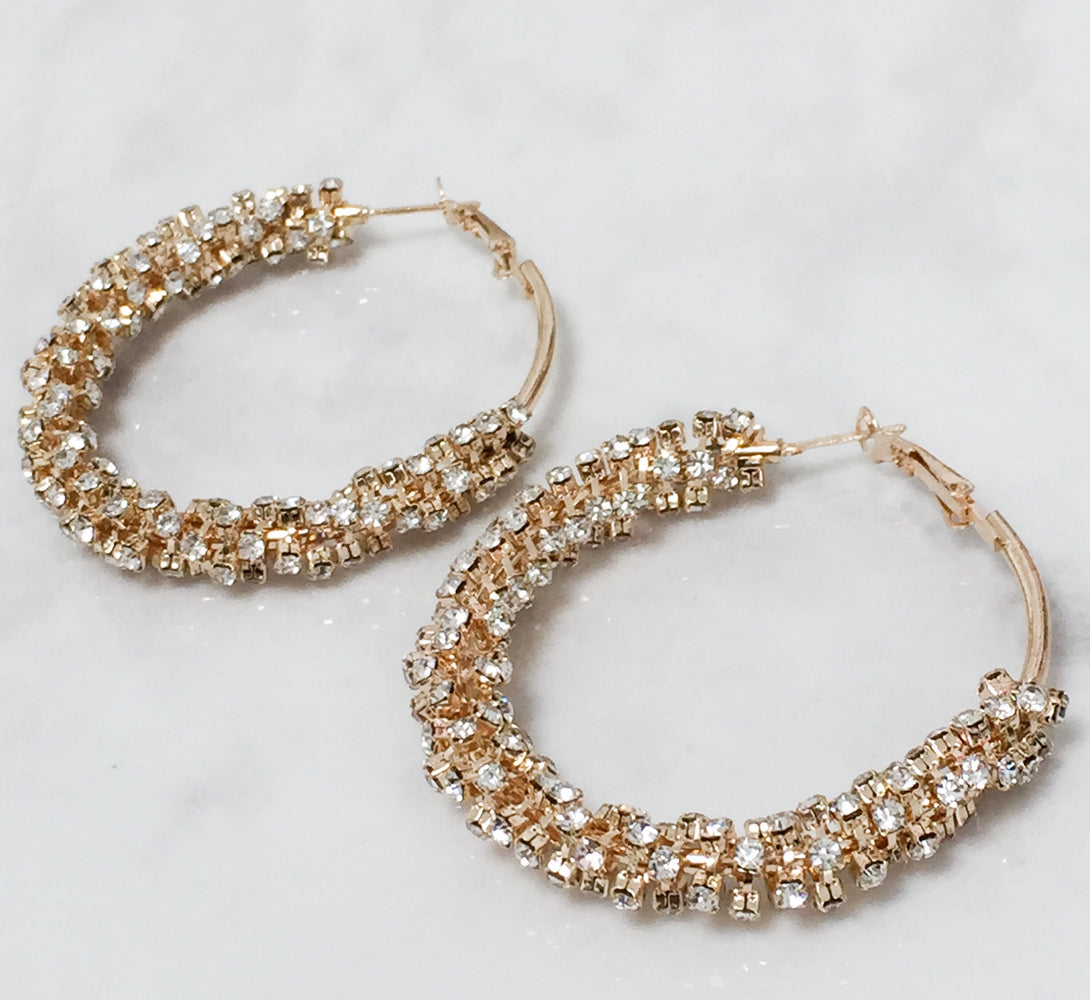 gold jewel hoop earrings