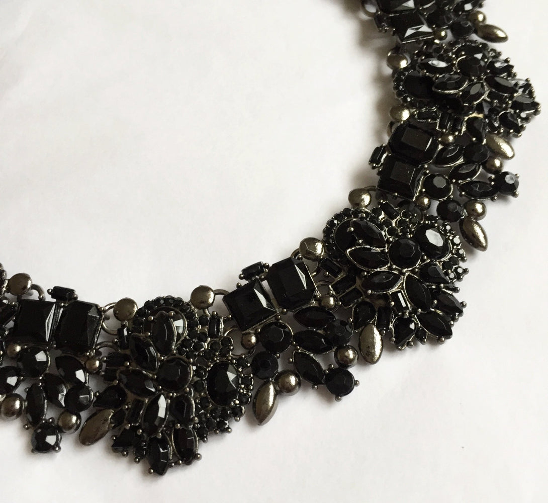 black rhinestone fancy necklace for her and graduation jewellery