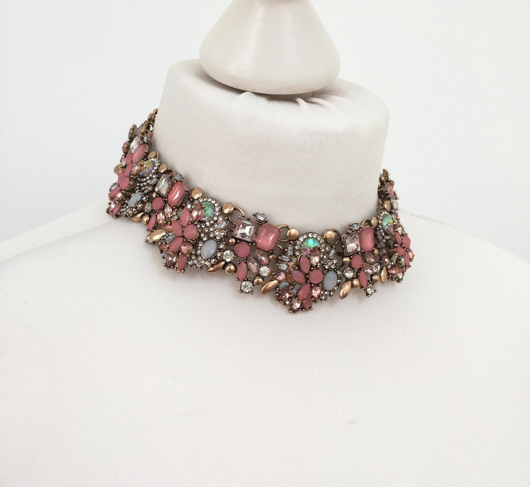 Pink and gold choker necklace