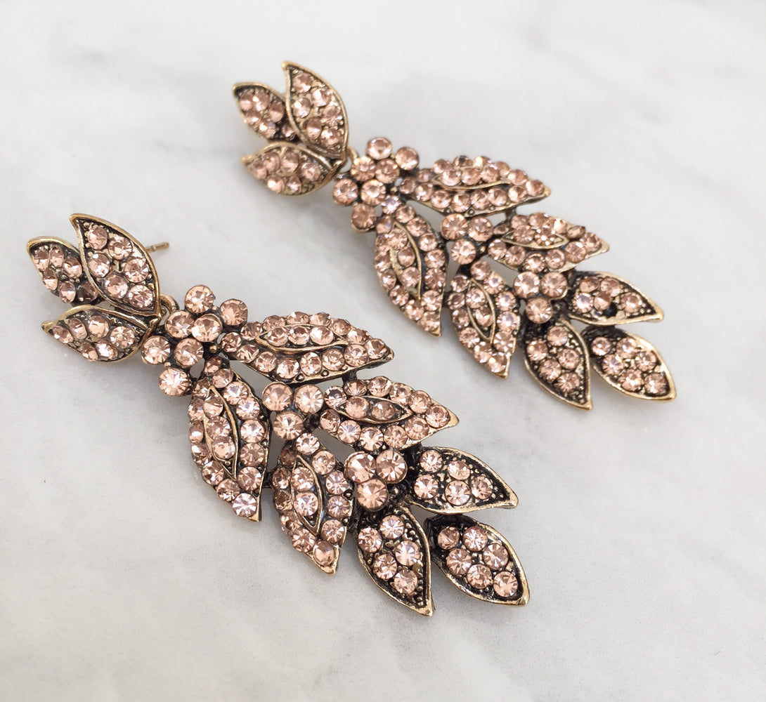 Bronze peach jewel earrings for evening wear