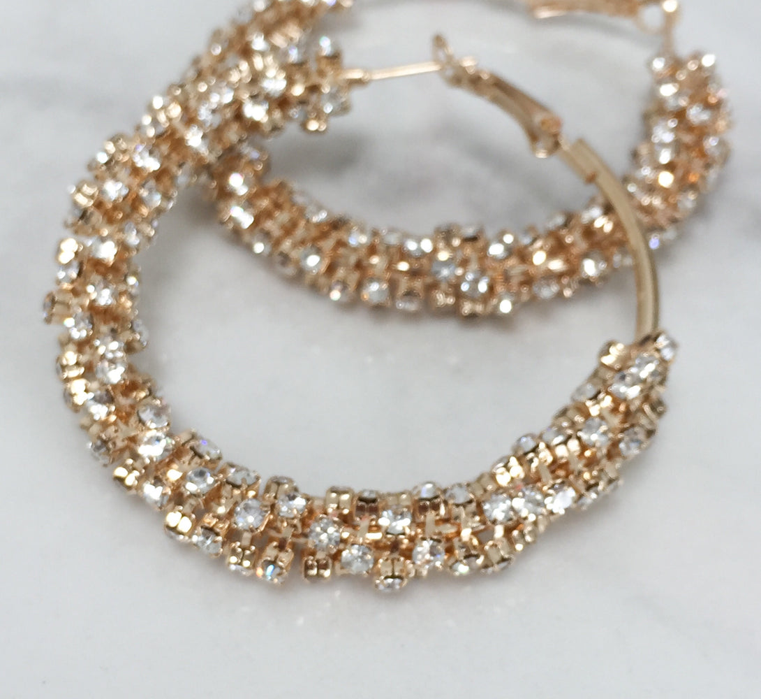 ladies rose gold hoop earrings