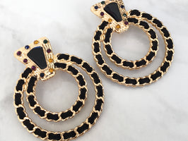JINA Gold & Black Hoop Earrings