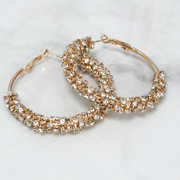 ALIA Diamonte Hoop Earrings (Gold & Silver)