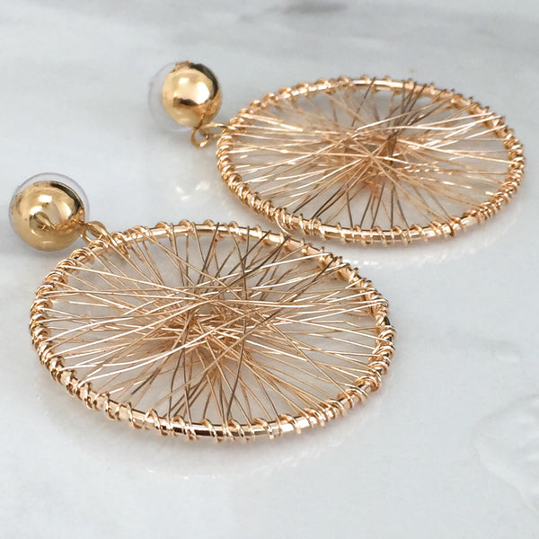 Gold Wire Hoop Earrings
