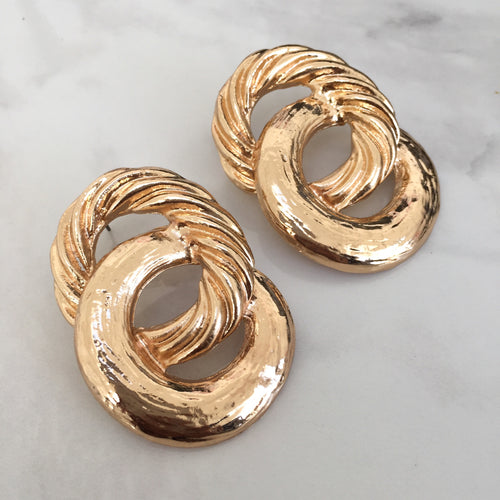 Gold Interlocking Rope Earrings